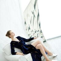 高档重工金线刺绣丝绒长款连衣裙女秋新款气质显瘦长袖长裙 藏青色(30天发货)