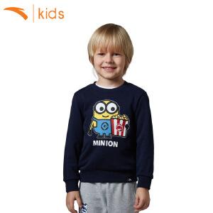 安踏男童小黄人卫衣宝宝套头打底衫女孩上衣长袖T恤卡通35734410