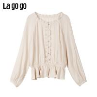 Lagogo/拉谷谷2020夏季新款木耳边衬衫女上衣米色淑女JASS533T12