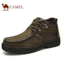 camel 骆驼男鞋 商务休闲男士鞋系带保暖绒里男鞋潮流男士鞋子