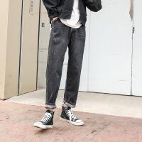 新款直筒牛仔男秋季百搭黑色牛仔裤男士韩版宽松港风潮流显瘦小直筒哈伦裤 黑色