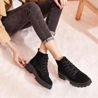 珂卡芙2019冬季新品系带马丁靴防滑高帮耐磨冬靴专柜同款