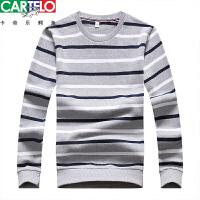 CARTELO/卡帝乐鳄鱼 2018年秋冬男士新品 经典流行条纹圆领长袖T恤 男针织衫