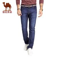 骆驼男装 秋季新款直筒水洗男士牛仔裤时尚中腰长裤