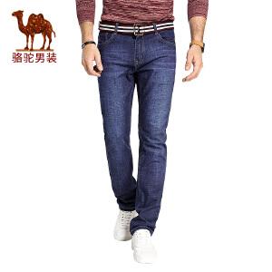 骆驼男装 2017秋季新款直筒水洗男士牛仔裤时尚中腰长裤
