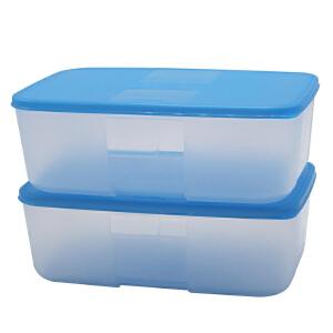 特百惠1.7L冰箱冷冻盒冰箱保鲜盒储藏盒速冻盒 2件套