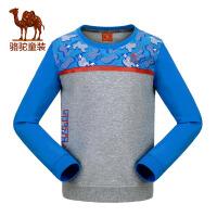 camel骆驼秋冬季儿童微弹圆领卫衣中大童加厚长袖运动T恤