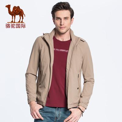 骆驼男装 新款时尚保暖商务休闲外套可脱卸帽男士夹克