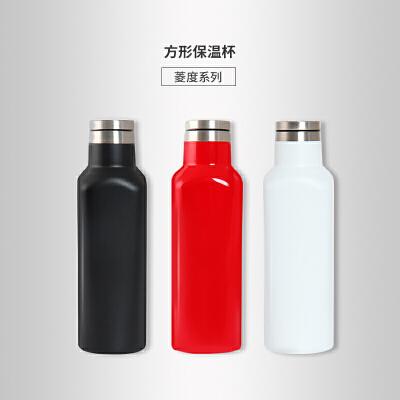 当当优品 创意方形旅行保温杯480ml 菱度系列 当当自营 创新方形杯身 食品级材质 小口径杯口 底部防滑硅胶