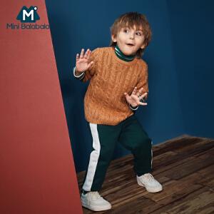 【尾品价:83】迷你巴拉巴拉男童圆领毛衣2018年冬季新款幼童宝宝保暖打底毛衫