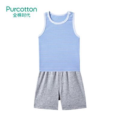 全棉时代 蓝白条婴儿针织无袖套装1套装