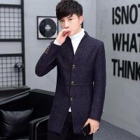 外套男春秋呢子中长款风衣男士妮子修身韩版秋季潮流青年毛呢大衣TBB913