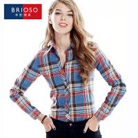 BRIOSO 2017春装新款女式磨毛长袖格子衬衫 韩版时尚修身出街百搭女士衬衣 大码女装 衬衣 WEMM001