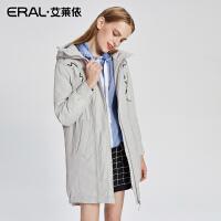 ERAL/艾莱依2017秋冬新款宽松连帽羽绒服女中长款保暖16221-FDAA