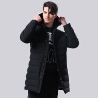 坦博尔中长款连帽直筒潮流韩版2017新款冬季羽绒衣外套男TF17625