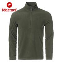 Marmot/土拨鼠2020春季新款男士户外运动轻薄套头抓绒衣