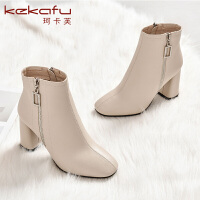 19冬珂卡芙新款【保暖舒适】时尚个性纯色时装靴纯色方头靴子女