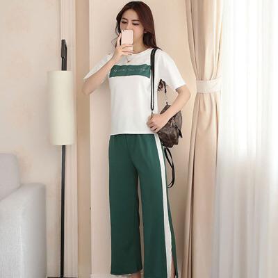 套装 女士宽松字母印花T恤开叉阔腿裤运动休闲夏季新款女式OL通勤裤白T+绿裤女装两件套