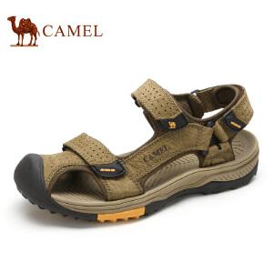 camel骆驼男鞋 夏季 户外休闲凉鞋男牛皮沙滩鞋魔术贴