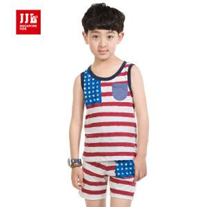 季季乐 2015童装男童夏装卡通休闲条纹纯棉短袖套装BXZ53125