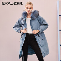 ERAL/艾莱依羽绒服女2018冬季新款韩版大毛领外套大衣617104040