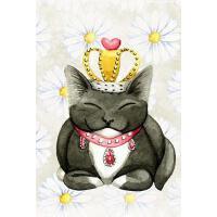 预订 Sweet Black and White Kitty Cat Wearing a Crown and Jewe