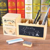 【单件包邮】木质多功能笔筒韩国小清新可爱插槽留言创意黑板学生用品