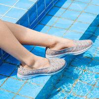 Skehers斯凯奇女鞋夏季新款一脚蹬运动休闲沙滩凉鞋印花洞洞鞋