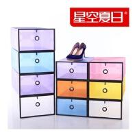 星空夏日加大加厚鞋柜式透明鞋盒 塑料水晶抽屉式收纳盒 女款10个装