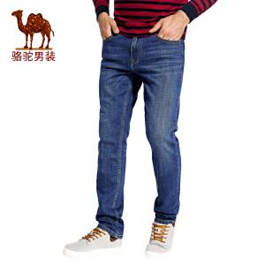 骆驼男装 2017秋季新款直筒 水洗男士牛仔裤时尚中腰长裤