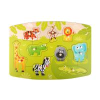 Hape三阶小抓手拼图 丛林动物 急救车队 工程车队 农场动物 2-6岁宝宝早教启蒙益智玩具积木拼插拼图拼板