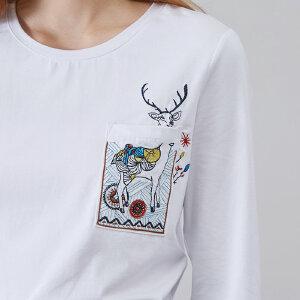 熙世界白色T恤女2018秋季新款宽松印花长袖打底体恤上衣113LT093
