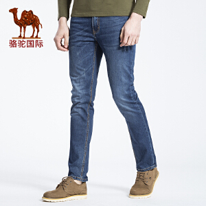 骆驼男装 2017春季新款时尚商务休闲棉质中腰猫须牛仔裤男长裤