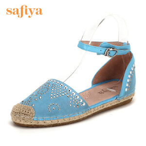 【3折到手价140.7元】索菲娅(Safiya)夏季绒面羊皮革编织平底休闲鞋渔夫鞋SF62114006