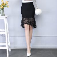 镂空蕾丝包臀裙秋冬女新款高腰荷叶边半身裙鱼尾裙黑色职业裙短裙