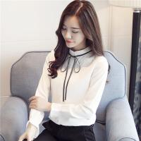 白领公社 衬衫 女士立领系带雪纺加绒加厚打底衫秋冬新款韩版时尚女式休闲百搭衬衣保暖上衣