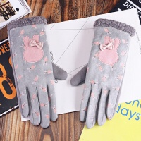 韩版冬季手套女可爱卡通兔耳朵五指触屏加绒加厚保暖百搭学生骑车 灰色 兔子耳朵五指手套 均码