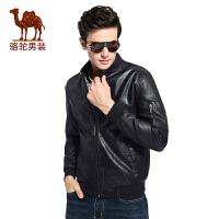 骆驼男装 2017秋季时尚收口袖时尚黑色PU皮青年夹克衫长袖男外套
