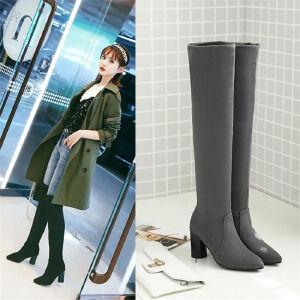 O'SHELL欧希尔新品038-9001韩版磨砂绒面粗跟高跟女士过膝长靴