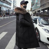 羽绒服男士潮中长款韩版2018新款帅气学生冬季加厚大毛领保暖外套