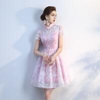 2018新款春季显瘦伴娘礼服短款小礼服伴娘团毕业姐妹裙宴会连衣裙 粉色