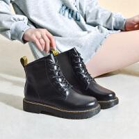 19珂卡芙冬季新款【真皮帮面】时尚复古马丁靴简约百搭耐看女靴