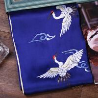 苏绣丝巾男士女士 围巾手工刺绣仙鹤中国风送老外礼盒装 深蓝色