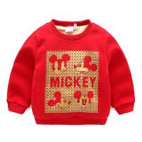 童装秋冬儿童加绒卫衣男童保暖上衣红色加厚宝宝婴幼儿长袖AL10WY5029-1