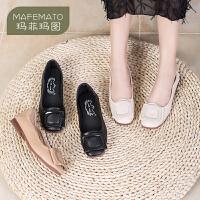 玛菲玛图2020新款单鞋浅口糖果色方扣低跟百搭女士休闲方头鞋2890-1