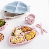 家用小麦纤维儿童餐具套装 可爱卡通分格耐摔餐盘叉勺组合装