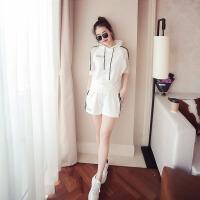 套装 女士休闲宽松时尚运动套头衫2019夏季韩版女式简洁棉质舒适女装两件套