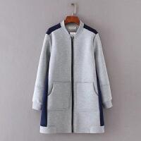 太空棉空气层棒球服夹克开衫卫衣外套女士中长款撞色拼接春季外套 如图