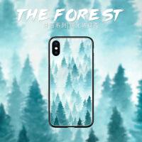 雾中丛林苹果8plus手机壳iphone7钢化玻璃xs max简约冷淡风6s文艺7p个性创意6plus时尚潮款xr全包