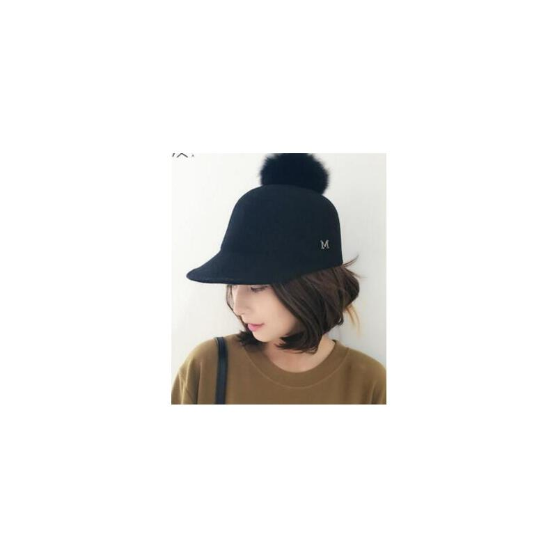 新款 羊毛呢大兔毛球骑士马术帽女士英伦鸭舌帽礼帽子      支持礼品卡 品质保证 售后无忧 支持货到付款